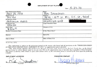 MAGNUM FORCE MOVIE CAST - ONE DAY MOVIE CONTRACT SIGNED 05/29/1973 CO-SIGNED BY: NESSA HYAMS, RAI SAUNDERS