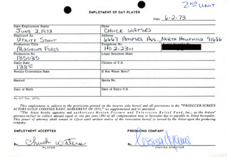 MAGNUM FORCE MOVIE CAST - ONE DAY MOVIE CONTRACT SIGNED 06/02/1973 CO-SIGNED BY: NESSA HYAMS, CHUCK WATERS