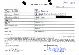 MAGNUM FORCE MOVIE CAST - ONE DAY MOVIE CONTRACT SIGNED 06/02/1973 CO-SIGNED BY: NESSA HYAMS, TED DUNCAN