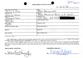 MAGNUM FORCE MOVIE CAST - ONE DAY MOVIE CONTRACT SIGNED 06/02/1973 CO-SIGNED BY: NESSA HYAMS, MAX BALCHOWSKY