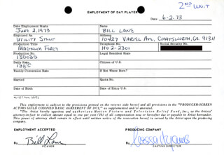 MAGNUM FORCE MOVIE CAST - ONE DAY MOVIE CONTRACT SIGNED 06/02/1973 CO-SIGNED BY: NESSA HYAMS, BILL (WILLIAM T.) LANE