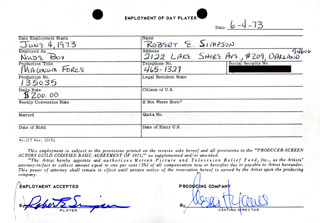 MAGNUM FORCE MOVIE CAST - ONE DAY MOVIE CONTRACT SIGNED 06/04/1973 CO-SIGNED BY: NESSA HYAMS, ROBERT E. SIMPSON