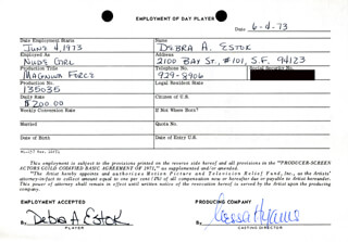 MAGNUM FORCE MOVIE CAST - ONE DAY MOVIE CONTRACT SIGNED 06/04/1973 CO-SIGNED BY: NESSA HYAMS, CLIFFORD A. PELLOW