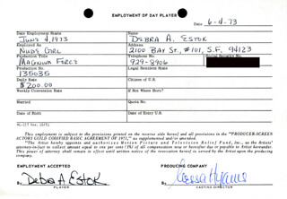 MAGNUM FORCE MOVIE CAST - ONE DAY MOVIE CONTRACT SIGNED 06/04/1973 CO-SIGNED BY: NESSA HYAMS, DEBRA A. ESTOK