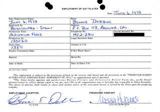 MAGNUM FORCE MOVIE CAST - ONE DAY MOVIE CONTRACT SIGNED 06/06/1973 CO-SIGNED BY: NESSA HYAMS, BENNIE E. DOBBINS