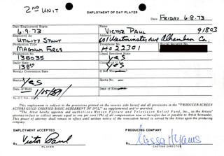 MAGNUM FORCE MOVIE CAST - ONE DAY MOVIE CONTRACT SIGNED 06/08/1973 CO-SIGNED BY: NESSA HYAMS, VICTOR PAUL