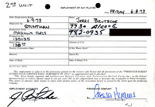 MAGNUM FORCE MOVIE CAST - ONE DAY MOVIE CONTRACT SIGNED 06/08/1973 CO-SIGNED BY: NESSA HYAMS, JERRY BRUTSCHE