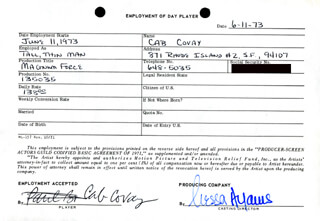 MAGNUM FORCE MOVIE CAST - ONE DAY MOVIE CONTRACT SIGNED 06/11/1973 CO-SIGNED BY: NESSA HYAMS, CAB COVAY