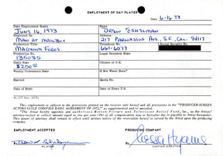MAGNUM FORCE MOVIE CAST - ONE DAY MOVIE CONTRACT SIGNED 06/16/1973 CO-SIGNED BY: NESSA HYAMS, DREW L. ESHELMAN