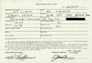 THE OUTLAW JOSEY WALES MOVIE CAST - ONE DAY MOVIE CONTRACT SIGNED CO-SIGNED BY: MEL SCHOPPMAN