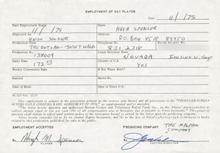 THE OUTLAW JOSEY WALES MOVIE CAST - ONE DAY MOVIE CONTRACT SIGNED CO-SIGNED BY: HUGH M. SPENCER