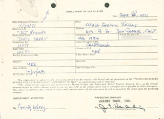 DIRTY HARRY MOVIE CAST - ONE DAY MOVIE CONTRACT SIGNED 04/23/1971 CO-SIGNED BY: CRAIG KELLY, JIM E. HENDERLING