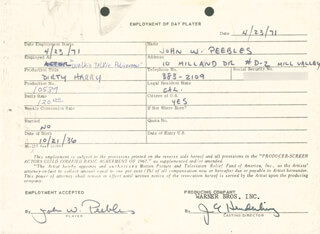 Autographs: DIRTY HARRY MOVIE CAST - ONE DAY MOVIE CONTRACT SIGNED 04/23/1971 CO-SIGNED BY: JIM E. HENDERLING, JOHN W. PEEBLES