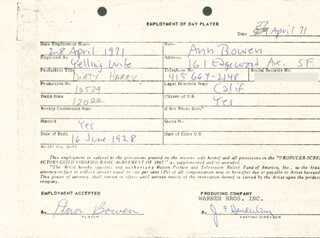 DIRTY HARRY MOVIE CAST - ONE DAY MOVIE CONTRACT SIGNED 04/27/1971 CO-SIGNED BY: JIM E. HENDERLING, ANN BOWEN