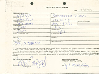 DIRTY HARRY MOVIE CAST - ONE DAY MOVIE CONTRACT SIGNED 04/27/1971 CO-SIGNED BY: KRISTOFFER TABORI, JIM E. HENDERLING