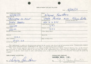 DIRTY HARRY MOVIE CAST - ONE DAY MOVIE CONTRACT SIGNED CO-SIGNED BY: BUDDY VAN HORN, JIM E. HENDERLING