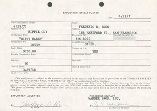 DIRTY HARRY MOVIE CAST - ONE DAY MOVIE CONTRACT SIGNED 04/29/1971 CO-SIGNED BY: JIM E. HENDERLING, FREDERIC D. ROSS