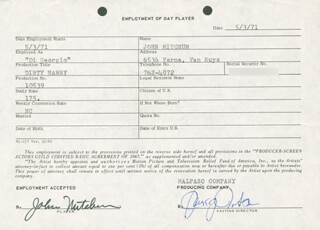 JOHN MITCHUM - ONE DAY MOVIE CONTRACT SIGNED 05/03/1971
