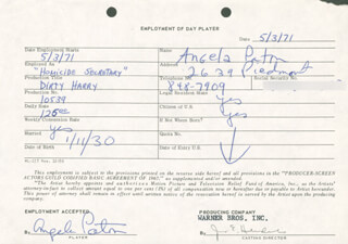 DIRTY HARRY MOVIE CAST - ONE DAY MOVIE CONTRACT SIGNED 05/03/1971 CO-SIGNED BY: JIM E. HENDERLING, ANGELA PATON