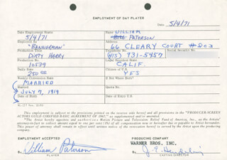 DIRTY HARRY MOVIE CAST - ONE DAY MOVIE CONTRACT SIGNED 05/04/1971 CO-SIGNED BY: WILLIAM PATERSON, JIM E. HENDERLING