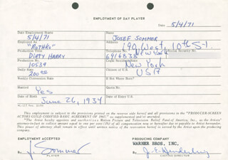 DIRTY HARRY MOVIE CAST - ONE DAY MOVIE CONTRACT SIGNED 05/04/1971 CO-SIGNED BY: JOSEF SOMMER, JIM E. HENDERLING