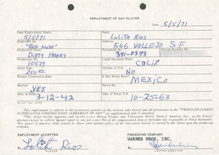 DIRTY HARRY MOVIE CAST - ONE DAY MOVIE CONTRACT SIGNED 05/05/1971 CO-SIGNED BY: JIM E. HENDERLING, LOLITA RIOS