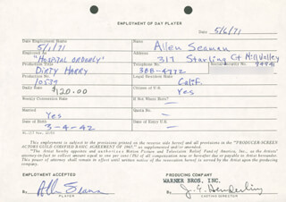 DIRTY HARRY MOVIE CAST - ONE DAY MOVIE CONTRACT SIGNED 05/06/1971 CO-SIGNED BY: JIM E. HENDERLING, ALLEN SEAMAN