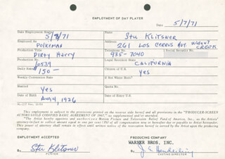 DIRTY HARRY MOVIE CAST - ONE DAY MOVIE CONTRACT SIGNED 05/07/1971 CO-SIGNED BY: STUART P. STU KLITSNER, JIM E. HENDERLING