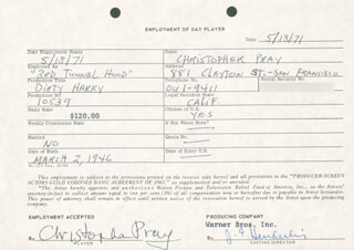 DIRTY HARRY MOVIE CAST - ONE DAY MOVIE CONTRACT SIGNED 05/13/1971 CO-SIGNED BY: JIM E. HENDERLING, CHRISTOPHER PRAY
