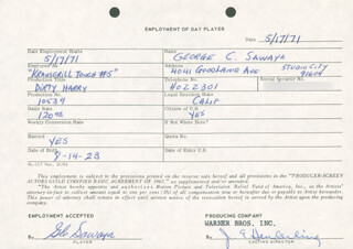 DIRTY HARRY MOVIE CAST - ONE DAY MOVIE CONTRACT SIGNED 05/17/1971 CO-SIGNED BY: GEORGE SAWAYA, JIM E. HENDERLING