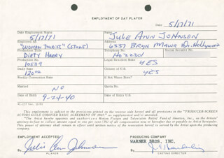 DIRTY HARRY MOVIE CAST - ONE DAY MOVIE CONTRACT SIGNED 05/17/1971 CO-SIGNED BY: JULIE ANN JOHNSON, JIM E. HENDERLING