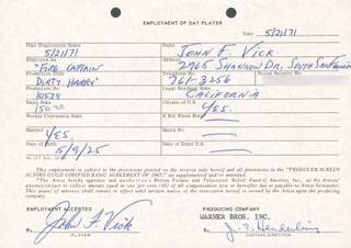 DIRTY HARRY MOVIE CAST - ONE DAY MOVIE CONTRACT SIGNED 05/21/1973 CO-SIGNED BY: JIM E. HENDERLING, JOHN F. VICK