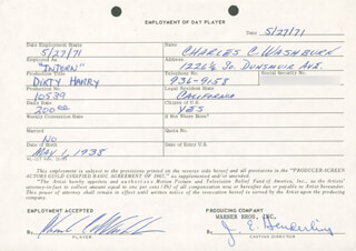 DIRTY HARRY MOVIE CAST - ONE DAY MOVIE CONTRACT SIGNED 05/27/1971 CO-SIGNED BY: JIM E. HENDERLING, CHARLES C. WASHBURN