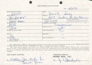 JIM E. HENDERLING - ONE DAY MOVIE CONTRACT SIGNED 06/01/1971