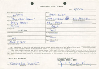 DIRTY HARRY MOVIE CAST - ONE DAY MOVIE CONTRACT SIGNED 06/02/1971 CO-SIGNED BY: JIM E. HENDERLING, DEBRALEE SCOTT