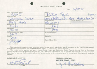 DIRTY HARRY MOVIE CAST - ONE DAY MOVIE CONTRACT SIGNED 06/03/1971 CO-SIGNED BY: VICTOR PAUL, JIM E. HENDERLING