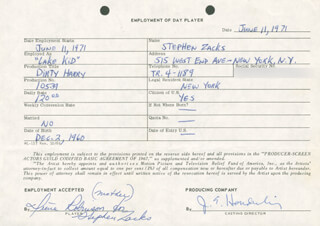 JIM E. HENDERLING - ONE DAY MOVIE CONTRACT SIGNED 06/11/1971