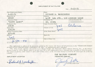 RICHARD A. WASHINGTON - ONE DAY MOVIE CONTRACT SIGNED 06/16/1971