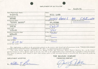 WILLIAM T. LANE - ONE DAY MOVIE CONTRACT SIGNED 06/16/1971