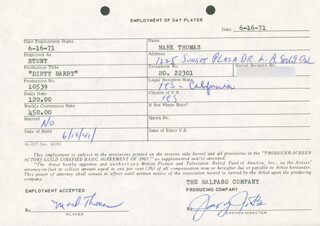 MARK THOMAS - ONE DAY MOVIE CONTRACT SIGNED 06/16/1971