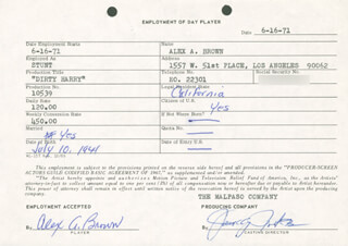 ALEX A. BROWN - ONE DAY MOVIE CONTRACT SIGNED 06/16/1971
