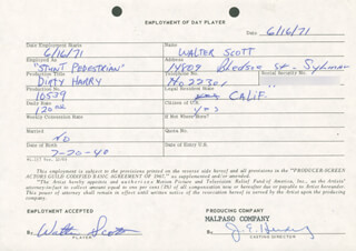DIRTY HARRY MOVIE CAST - ONE DAY MOVIE CONTRACT SIGNED 06/16/1971 CO-SIGNED BY: JIM E. HENDERLING, WALTER SCOTT