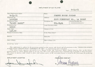 DIRTY HARRY MOVIE CAST - ONE DAY MOVIE CONTRACT SIGNED 09/14/1971 CO-SIGNED BY: NESSA HYAMS, JOANNE MOORE JORDAN