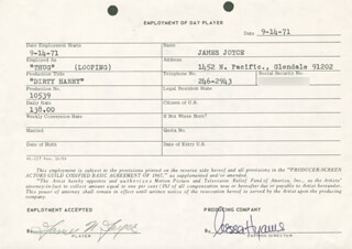 DIRTY HARRY MOVIE CAST - ONE DAY MOVIE CONTRACT SIGNED 09/14/1971 CO-SIGNED BY: NESSA HYAMS, JAMES N. JOYCE