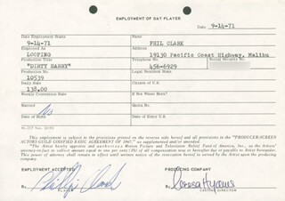 DIRTY HARRY MOVIE CAST - ONE DAY MOVIE CONTRACT SIGNED 09/14/1971 CO-SIGNED BY: NESSA HYAMS, PHILLIP CLARK