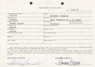 DIRTY HARRY MOVIE CAST - ONE DAY MOVIE CONTRACT SIGNED 09/14/1971 CO-SIGNED BY: NESSA HYAMS, CARLENE CONNELLY