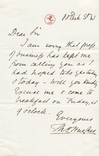 THOMAS HUGHES - AUTOGRAPH LETTER SIGNED