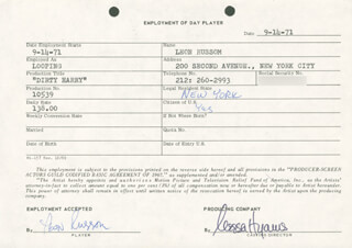 DIRTY HARRY MOVIE CAST - ONE DAY MOVIE CONTRACT SIGNED 09/14/1971 CO-SIGNED BY: NESSA HYAMS, LEON RUSSOM