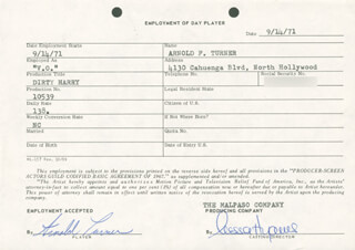 DIRTY HARRY MOVIE CAST - ONE DAY MOVIE CONTRACT SIGNED 09/14/1971 CO-SIGNED BY: NESSA HYAMS, ARNOLD F. TURNER