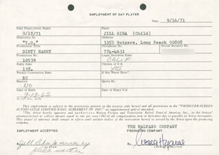 NESSA HYAMS - ONE DAY MOVIE CONTRACT SIGNED 09/16/1971